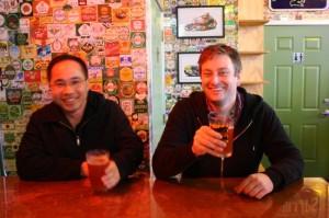Quyen Li (left) and Jeremy Lewis of Roscoe's Pub