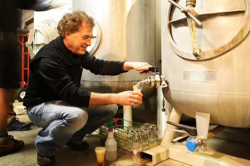 Dave Logsdon of Logsdon Farmhouse Ales pours his Seizoen from the zwickel