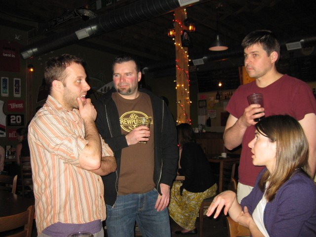"L to R: Breakside's Ben Edmunds, ""SNOB"" Ritch Marvin, Bailey's Geoff Phillips, and Emma Beckman at MICROHOPIC 3"