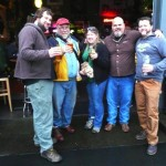 L to R: Powered by Yeast's Tim Ensign, The Beer Here's John Foyston, Oregon Brew Crew's Yvette Uber, Bear Republic brewer Peter Kruger, and APEX owner Jesse McCann