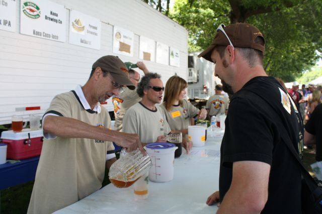 Oakshire Brewmaster Matt Van Wyk gets a sample at the Oregon Brewers Festival