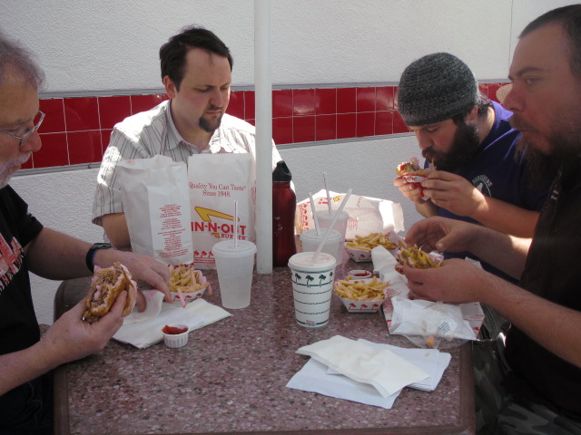 L to R: Portlanders Terry MacDonald, Theo Skourtist, Harry Sanger, and Jim Bonomo enjoy some In-N-Out Burger in Redding, CA