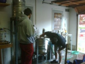 Chris Dillon (left) and Alex McGaw in the brewhouse