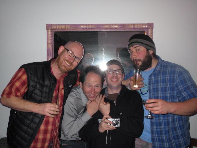 Eugene Beer Week celebation at Isakaya Meiji L to R: Jeff Althouse, Jamie Floyd, Angelo De Ieso, and Harry Sanger