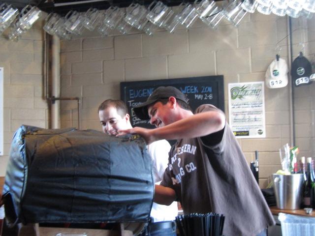 Hop Valley brewmaster Trevor Howard at Eugene Beer Week release of bourbon Buffalo Soldier at Hop Valley.