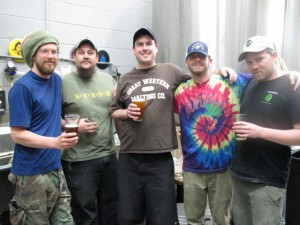 Hop Valley Brewing crew sampling Tilley's Chili Beer during Eugene Beer Week