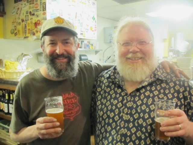 Rogue Brewmaster John Maier (left) and Full Sail Brewmaster John Harris at The Bier Stein during Eugene Beer Week