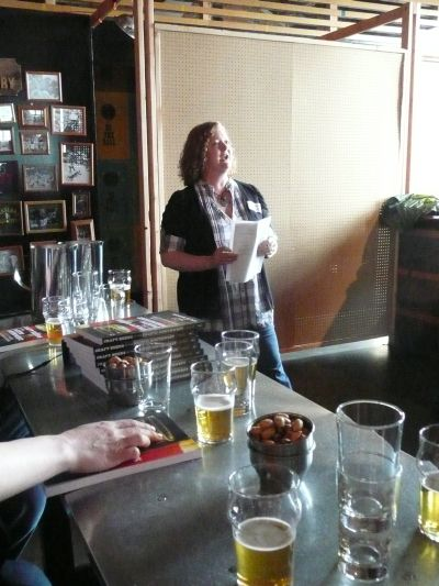 Lisa Morrison addresses the media at a release party for Craft Beers of the Pacific Northwest