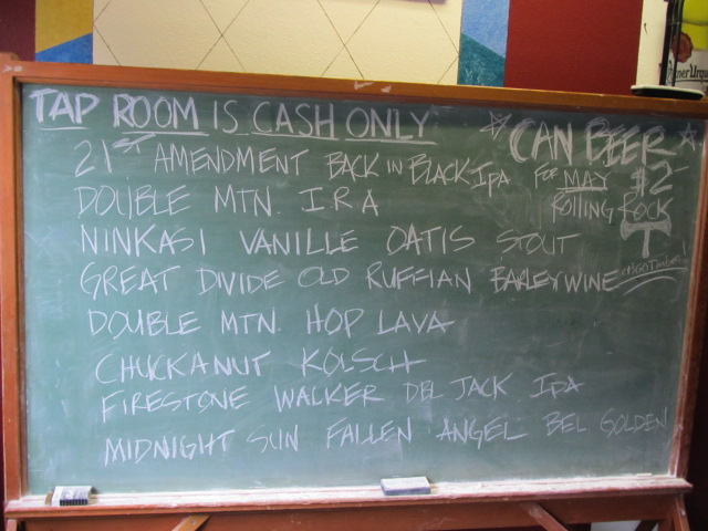 Draught list at By The Bottle May 29, 2011