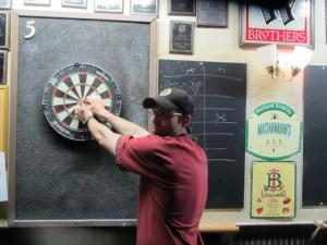 Mario shooting darts at the Horse Brass Pub