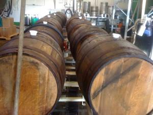 Bourbon barrels at Fremont Brewing