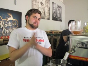 Tom Fischer at the rare beer taps at PFBF
