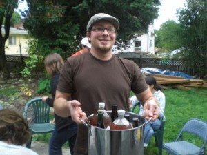 Cascade brewer Sean White with a bucket o summer brews