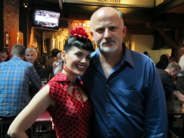 Stumptown Tart pin-up model Bernie Dexter (left) with BridgePort Brewmaster Jeff Edgerton at the release party