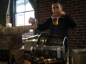 Special firkin-drawn samples of BridgePort's Stumptown Tart at the release party