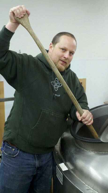 Bier Stein founder Chip Hardy brewing The Missing Link IPA at Oakshire