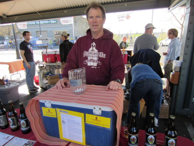 Casey Ruud, owner and brewer of Old Schoolhouse serves up his Ruud Awakening IIPA at April Brews Day