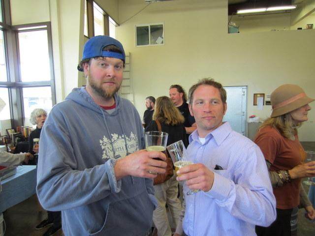 Eric Jorgensen of North Fork Brewing and beer industry guru Adam enjoy some fine brews at Chuckanut
