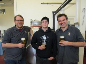 From Left to right- Chuckanut Head Brewer Kevin Davey, 'Tuesday' of Skagit River and Chuckanut assistant brewer Bryan Caldwell
