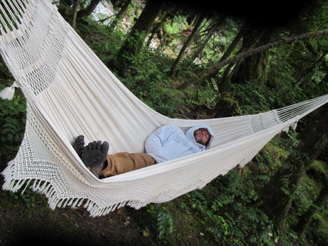 Jesse relaxing in his hammock