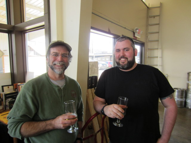 Karl Engel, owner and head brewer of Slip Point with fellow Slip Pointer Tony Green
