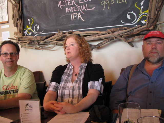Distinguished members of the Portlandl beer media (L to R) It's Pub Night's Bill Night, Beer O'Clock's Lisa Morrison, and The Oregonian's John Foyston