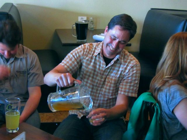 Beetje Brewing's Michael Wright pours a sample of his Zure Krenten