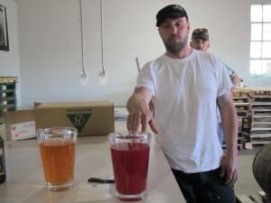 Burnside brewer Jason McAdam with Gooseberry and Marionberry Berliner Weissbiers