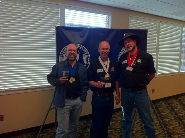 Pelican brewers blinged out at NABA 2011 L to R: Todd Campbell, Darron Welch, and Daniel Pollard