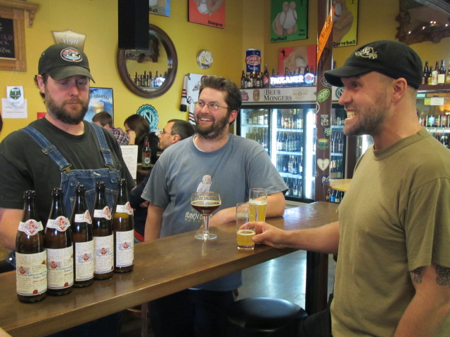 Drinking mad Berliner Weiss at The BeerMongers with brewers (L to R) Chip Conlon, Bryan Kielty, and Jason McAdam