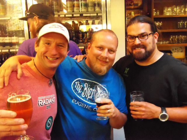 L to R: Ninkasi's Jamie Floyd, The Bier Stein's Chip Hardy, and Hopworks' Jaime Rodriguez