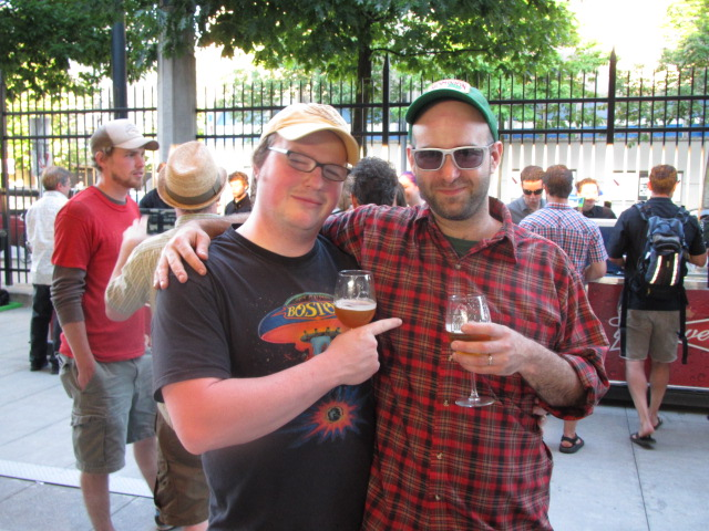 Brewmasters Vasilios Gletsos (right) with Rock Bottom's Charlie Hutchins