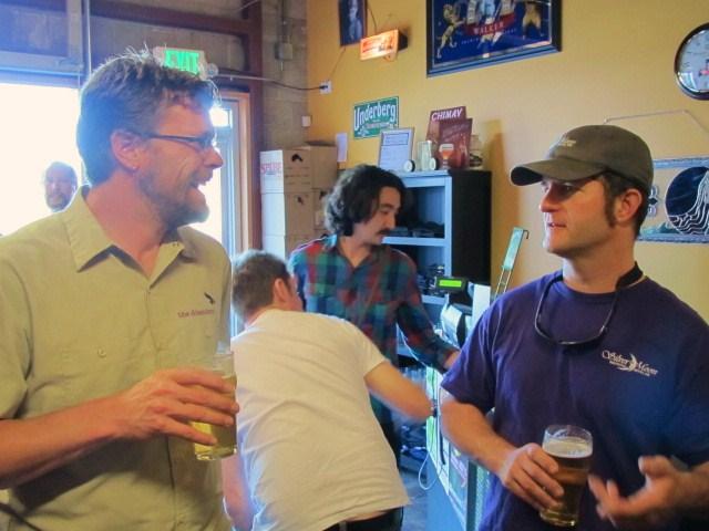 Deschutes brewer Ryan Schmiege (left) and Silver Moon brewer Tyler Reichert enjoy a beer at Bend Beer Night at The BeerMongers