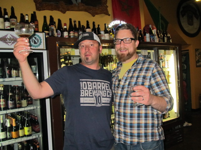 10 Barrel's Jimmy Seifrit (left) and Hopworks' Ben Love at Bend Beer Night at The BeerMongers