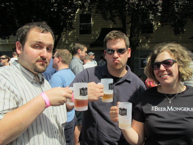 L to R: Theo Skourtis, Tim Douglas, and birthday girl Amanda Wood Skourtis at The Cans Fest
