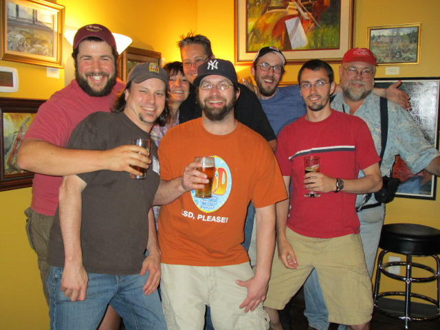 Celebrating John Foyston's birthday on July 9, 2011 at The BeerMongers L to R: Harry Sanger, Sean Campbell, Terry Plew, Randy Plew, Bryan Keilty, Angelo, Sam, and the birthday boy