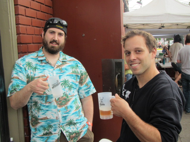 New Old Lompoc brewer Zach Beckwith (left) and Breakside brewer Ben Edmunds at Saraveza's 2nd Annual IIPA Fest