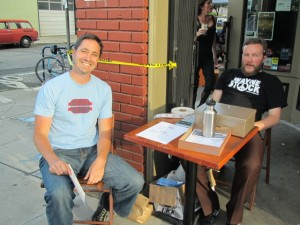"Beetje brewer Mike Wright (left) and Tyler ""The Elder"" Vickers work the front door at Saraveza's 2nd Annual IIPA Fest"