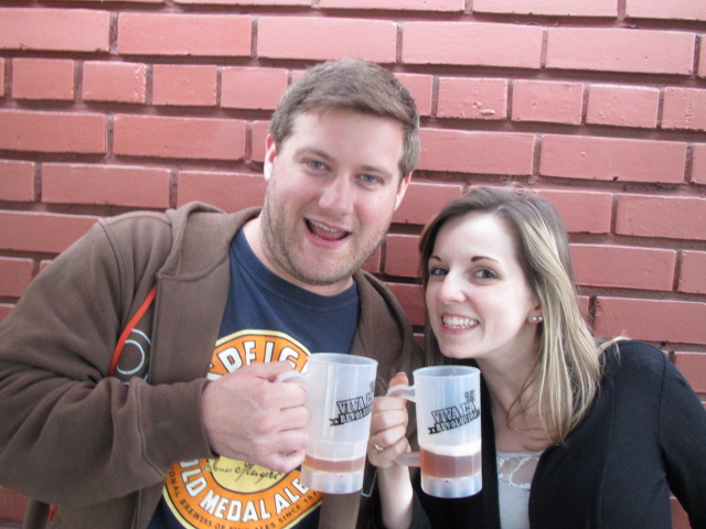 Brewer Cole Hackbarth and Tara Fulps enjoying a post-shift brew at Saraveza's 2nd Annual IIPA Fest