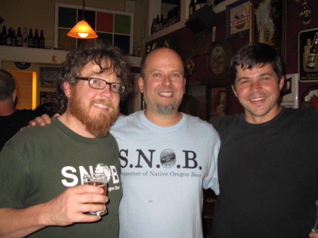 L to R: Steve Jones of Steve's Cheese, Brian Butenschoen of the Oregon Brewers Guild, and Geoff Phillips of Bailey's Taproom at Belmont Station's 5th Annual Puckerfest