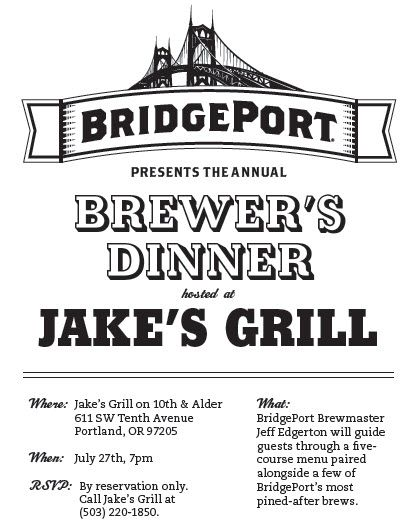 BridgePort Brewer's Dinner at Jake's Grill