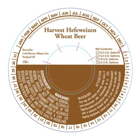 Craft Brewers Alliance Harvest Hefeweizen Wheat Beer