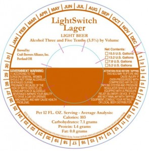Craft Brewers Alliance Light Switch Lager Light Beer