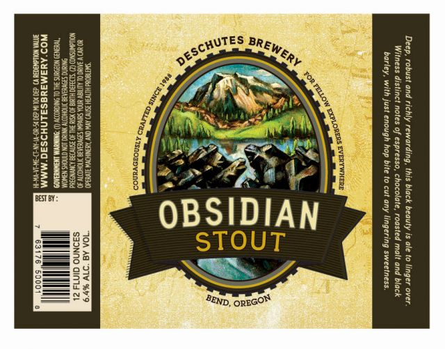 Deschutes Obsidian Stout Label