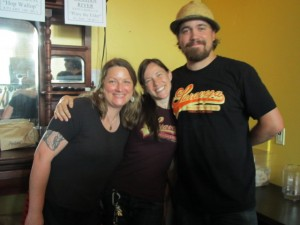 Saraveza's Erika Huston (left), Sarah Pederson (center), and Jonathan Carmean at the 2nd Annual IIPA Fest