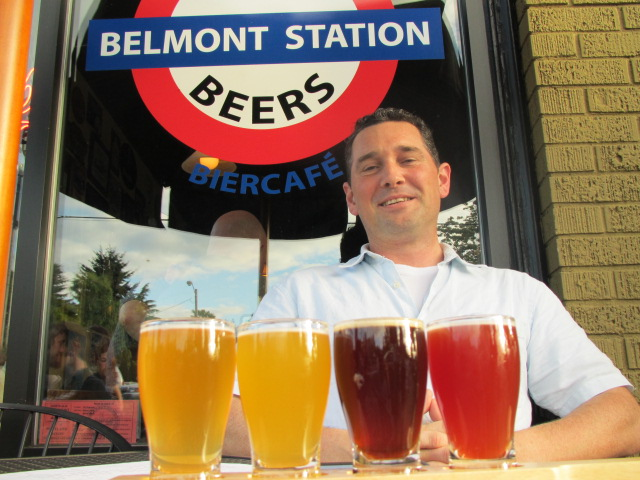 Jeremie Landers sits out from of Belmont Station's Biercafe with a flight of wild ales