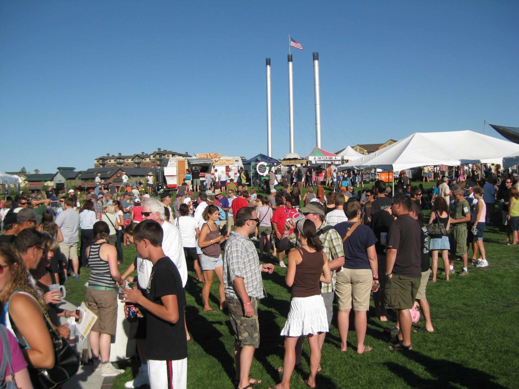 Bend Brewfest with Old Mill District in background
