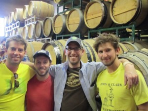 Breakside Brewery lovefest with (l to r) Scott Lawrence, Ben Edmunds, Angelo of Brewpublic, and Sam Barber