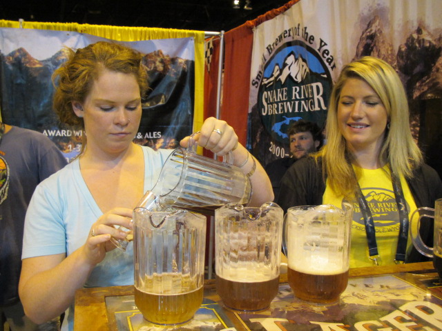 Pouring a taste of Snake River Le Serpent Cerise at GABF 2011