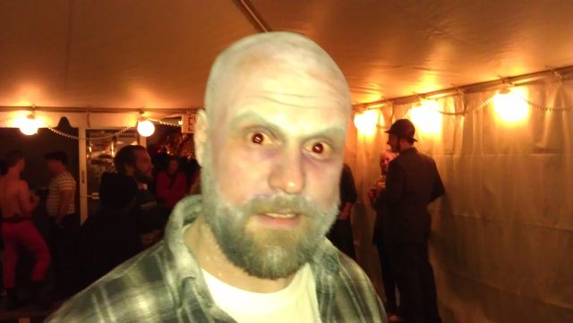 Burnside Brewmaster Jason McAdam as the living dead at Night of the Living Ales party